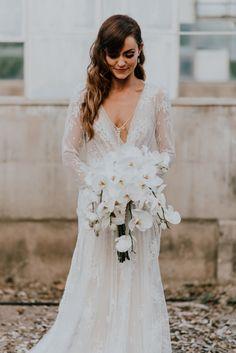 Inbal Dror wedding dress from this elegant outdoor California wedding at Dos Pueblos Ranch | Image by Alexander Photography