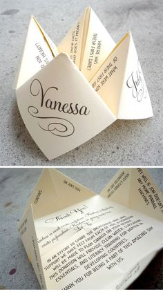 Fortune Teller thank you notes/invites. Love this idea! Made these all the time when I was a kid...
