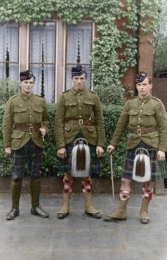 +~+~ Antique Photograph ~+~+  World War l ~ three Seaforth Highlanders, Bedford, England 1915.  Photograph hand coloured by  Chris Foster.