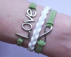 Antique Silver Bracelet, Love Bracelet, Infinity Bracelet