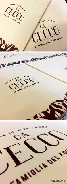 I menu dell'Osteria Da Cecco sono oggetti di design realizzati con stampa a colori diretta su legno.  #lizeaprinting #printingdifferent #design #legno #stampasulegno #creativework #creative #woodwork #woodprinting
