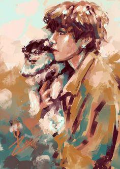 Taehyung Fanart, Vkook Fanart, Kpop Drawings, Bts Chibi, Bts Pictures, Aesthetic Art, Bts Wallpaper, Art Inspo, Art Reference