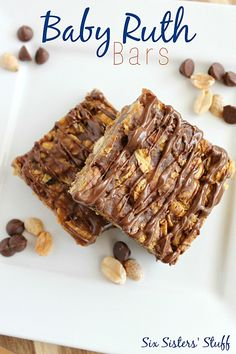 Baby Ruth Bars from SixSistersStuff.com - they taste just like the candy bar, and they're NO BAKE!