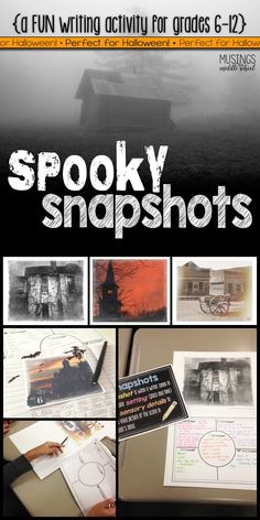 This Halloween Writing: Spooky Snapshots mini-unit is perfect for middle school and high school students! They will love writing about the 24 spooky setting images that come in this unit. Middle School Reading, Middle School Classroom, Middle School English, English Classroom, Ela High School, Middle School Writing Prompts, English Teachers, Writing Assignments, High Schools