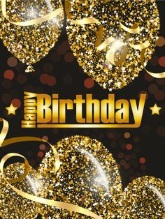 Golden Birthday Balloon Card