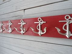 5 anchor wall hooks sailor boat cabin beach decor by riricreations Nautical Bedroom, Nautical Home, Nautical Style, Nautical Gifts, Nautical Bathrooms, Coastal Bedrooms, Wooden Coat Rack, Cottage Chic, Wood Cottage