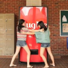 Give the Coca-Cola Hug Machine a hug and it will love you back, by giving you a free Coke.