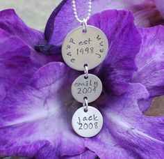 personalized necklace  hand stamped family jewelry  by mottolove, $38.00