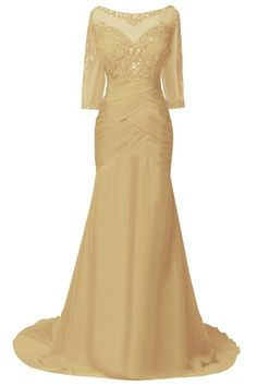 ORIENT BRIDE Women Mother Evening Dresses with Half Sleeves Size 10 US Gold