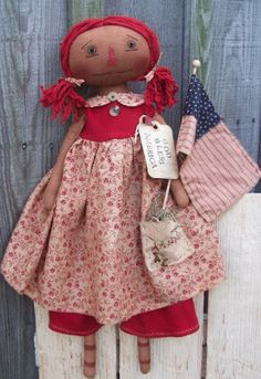 PatternMart.com ::. PatternMart: God Bless America Americana Raggedy Doll with flag 5.00