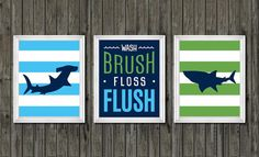 Boys bathroom decor boys shark bathroom blue by customedgestudio