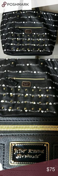 """Large Leather Betsey Johnson Gold Studded Purse 18"""" wide 13"""" tall (top and bottom of bag) 21"""" tall (top of handle to bottom of bag) Immaculate like new.  No missing gold studs or flaws. Inside immaculate as well.  This is such a gorgeous bag. Betsey Johnson Bags"""