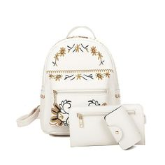 Pretty Floral Embroidered 3-PC PU Leather Backpack 2 Colors