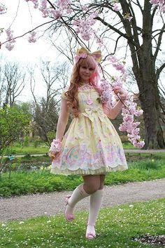 Angelic Pretty Headbow, Angelic Pretty Milky Planet Op, Angelic Pretty Socks, Angelic Pretty Shoes, Angelic Pretty Wristcufs, Angelic Pretty Necklace