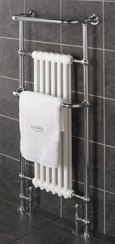 Tall Traditional Heated Towel Rail with cast iron radiator. Shown with our St James radiator valves.