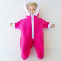 bitty clothes baby doll twin 15 inch girl bright pink snowsuit handmade zip up #15inchbittybaby #ClothingShoes
