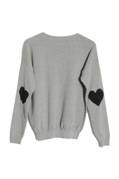 #romwe Black Love Patch Stick Grey Sweater