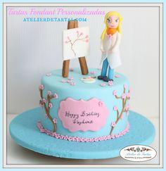 Atelier de tartas, tartas personalizadas fondant, decorated fondant cake, tartas cumpleaños fondant pintora