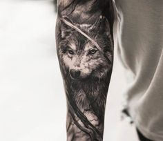 Wolf tattoo by Oscar Akermo More