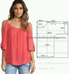 Super Sewing Clothes Tops How To Make Ideas Dress Sewing Patterns, Blouse Patterns, Sewing Patterns Free, Clothing Patterns, Blouse Designs, Sewing Blouses, Sewing Shirts, Fashion Sewing, Diy Fashion