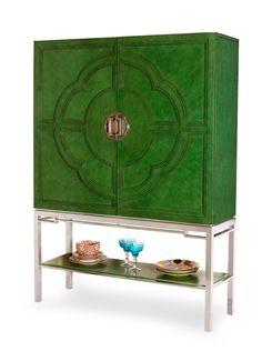 Lotus Bar Cabinet. @Nancy Schmalenberger Furniture. #Emerald #ColoroftheYear
