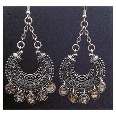 Belly Dance Jewelry Fusion Dance Tribal Hoops Bohemian Earring Antique... ($22) ❤ liked on Polyvore featuring jewelry, earrings, tribal hoop earrings, coin jewelry, bohemian jewelry, gypsy earrings and antique silver earrings