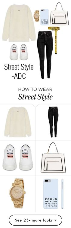 """""""Street Style"""" by anaarmanii on Polyvore featuring Off-White, Fendi and Burberry"""