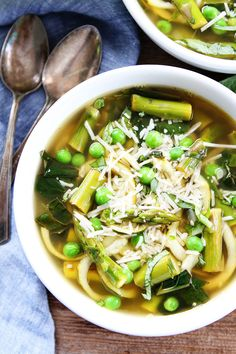 Spring Vegetable Zucchini Noodle Soup Recipe on twopeasandtheirpod.com This fresh and healthy soup makes a great spring lunch or dinner.