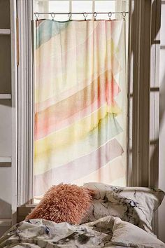 Shop Suki Watercolor Tapestry at Urban Outfitters today. Room Of One's Own, My Room, Dorm Room, Bohemian Bedroom Decor, Boho Decor, Home Goods Furniture, Window Panels, Window Wall, Window Curtains
