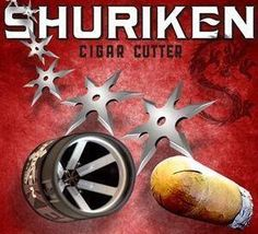 """Shuriken composite cigar cutter by Shuriken Composite. $19.49. """"The SHURIKEN cut draws the smoke evenly throughout the cigar, resulting in a cooler, more flavorful smoke,"""" said Belinda Doyle, President and CEO of CigarTech. """"It positions the smoke onto the tongue where the most pleasant tastes are experienced, and the draw is controlled by the pressure of your mouth on the slits made by the cutter. It really is amazing to be able to control the draw of virtually any cigar..."""