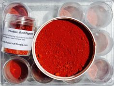 VENITIAN RED PIGMENT Natural Earth containing clay tinted by iron (20%) and low in silica oxide that gives a warm red-pink tints.