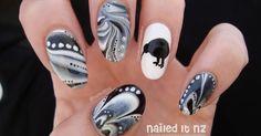 cinderella nail art, nailed it nz, easter nail art, easter bunny, new zealand nail art, australia nail art, negative space nail art, the very hungry caterpillar