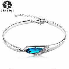 ea3adf88 Jiayiqi Fashion Cubic Zircon Crystal Bracelets for Women Vintage Silver  color Bracelet Fine Jewelry Romantic Gift