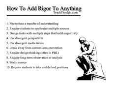 How to Add Rigor to Anything.  Great list from TeachThought
