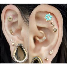 dansteinbacher:Healed helix piercings and month old second and third lobe piercings I did on at . Rocking all this beautiful jewelry from . Gold Helix Earrings, Moon Earrings, Cartilage Earrings, Crystal Earrings, Silver Earrings, Stud Earrings, Helix Piercings, Facial Piercings, Daith