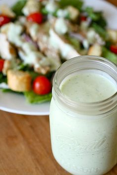 Restaurant Grade Homemade Ranch Dressing:  Blend 2/3 c. buttermilk, 2/3 c. mayo, 3/4 c. sour cream, 1/2 t. onion powder, 1/2 t. garlic powder, 1/4 t. salt, 1/8 t. pepper, 1 t. dried parsley flakes, and 2 t. buttermilk ranch salad dressing mix.   Chill for one hour.