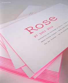 Letterpress birth announcement with colored edges