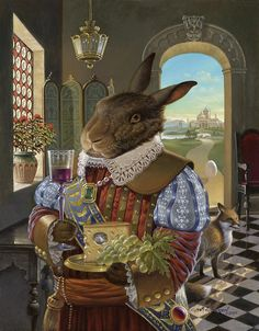 Renaissance Rabbit Painting by David Henderson Renaissance, Lapin Art, Bunny Art, Bunny Bunny, Bunny Rabbits, Painting Competition, Rabbit Art, Alice Rabbit, Art And Illustration