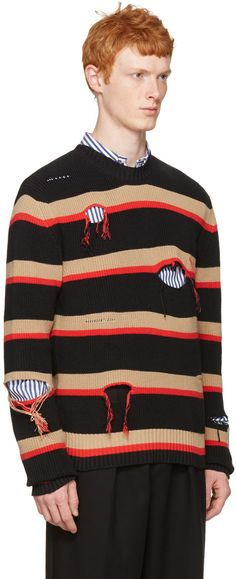 MSGM: Black Destroyed Stripes Sweater | SSENSE