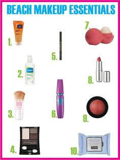 Must have makeup for the beach.