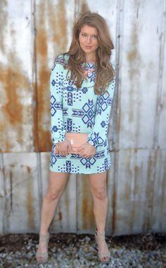 Sweeten up shift dress https://belleboutiquenwa.com/apparel/dresses/aztec-print-shift-dress.html #xoxoBelle #shiftdress #mint #patterns #dress #springtime #springapparel
