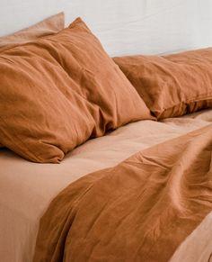 Curl up in our Ochre & Sandalwood pure French linen bedding. Linen Bedroom, Linen Duvet, Bedroom Decor, Orange Bedding, Orange Bed Sheets, Orange Bed Linen, Master Suite, Bed Linen Design, Simple Bed