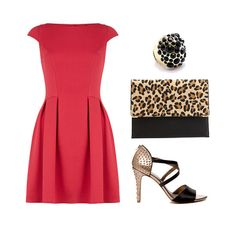 Love the whole outfit. Dorothy Perkins Prom Dress ($49)Tryst Black Stone Cocktail Ring ($16, originally $32)Charlotte Russe Flat Leopard Print Clutch ($15, originally $20)The Limited Cross-Strap Studded Heel ($25, originally $98)Total: $105