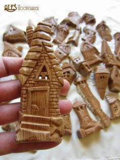 Bark Carving Whimsical Houses | Posted by Ales the Wood Carver at 10:34