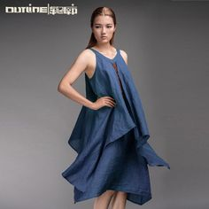 Outline Original Casual Sleeveless Dress for Women Embroidery Summer Linen Dress in Vantage Long Spaghetti Strap Dress