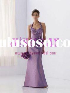 Halterneck light purple bridesmaid dress