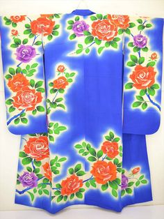 VINTAGE SILK WEDDING FURISODE:Embroidered Colourful Rose@L36a