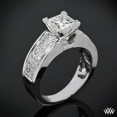 """A brilliant flowing design awaits with the """"Fiotto"""" Diamond Engagement Ring. Two rows packed with 28 Round-Ideal Diamond Melee (0.50ctw"""