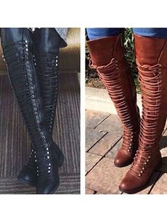 Women Over Knee High Boots Block Heel Lace Up Shoes Military Riding Thigh Boots - Overknee Boots - Ideas of Overknee Boots - Women Over Knee High Boots Block Heel Lace Up Shoes Military Riding Thigh Boots Price : Knee High Heels, Low Heel Boots, Shoes Heels Boots, Heeled Boots, Low Heels, Gladiator Boots, Buy Shoes, Suede Shoes, Ankle Boots