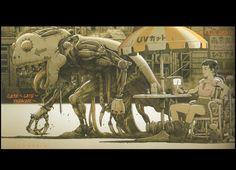 'A mechanical monster passes an outdoor cafe' by animator Tatsuyuki Tanaka